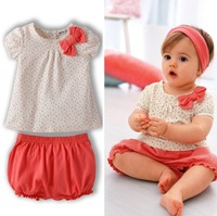 2013 New Arrival Baby Girls Summer Clothing Set,(printing T-shirt+red pants)2pcs set, infant casual set