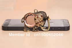 Bronze Vintage Elephant Pendant Metal Alloy Ornament DIY Materials for MobilePhone Case / Cover with Shiny Synthetic Diomand(China (Mainland))