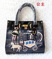 2013 New designer  princess hippomobile bag korean portable one shoulder cross-body small lock women's handbag  free shipping