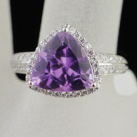 Female accessories natural amethyst ring 925 pure silver golden triangle