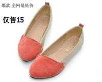 Color block single shoes female summer flat pointed toe scrub women's shallow mouth shoes