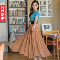 Thyanose 2013 patchwork slim short sleeve length skirt fashion expansion bottom chiffon one-piece dress