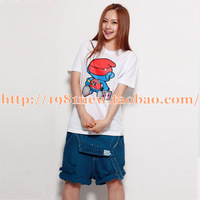 2013 Lovers design 100% cotton cartoon glue t-shirt print o-neck short sleeve shirt  and couple t-shirt fashion lovers t-shirt