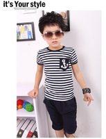 Free Shipping 2013 new fashion 5sets/lot children clothing set striped t-shirt with pants boy suits set