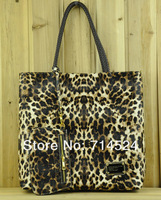 FREE SHIPPING ! 2 in 1 , 2013 HOT SALES Sexy Leopard Fashiong Woman PU Leather Tote bag , retail & wholesale