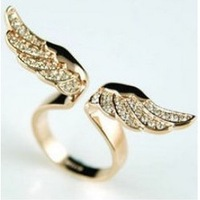 17mm size Fashion Exquisite Rhinestone angel wing Ring Jewelry for women XY-R81 17mm size