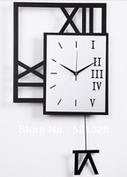 Free shipping Metal,wrought iron Ultra-modern minimalist wall clock Fashion mute Creative watches Living room swinging bell F190