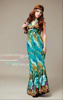 Free Shipping 2013 Women Summer Bohernian Beach Sexy Floor-Length Backless sleeveless dress for women