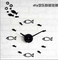 Free shipping DIY Marine fish wall clock Mute creative personality watches F185