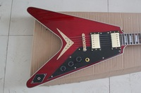 New Arrival G Custom shop  red    Flying V Electric  Guitar !! Free shipping 88