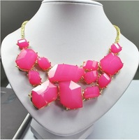 Min.order is $15(mix order) Candy Colors Necklace Fashion Geometric Resins Pendants Choker Necklaces 10 Colors wholesale