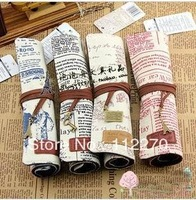 4pcs Free shipping cartoon fabric roll pencil case pencil bag kids study stationery
