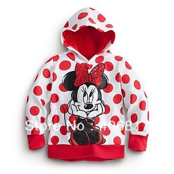 New Brand Multi Red Polka Dots Cute Cartoon Minnie Mouse Long Sleeves Hooded Hoodies Childred Kids Girl Hoodies Sweatshirts(China (Mainland))