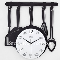 Free shipping Kitchen Restaurant Creative clock Knife and fork wall clock Spoon art Metal Iron Pans F192