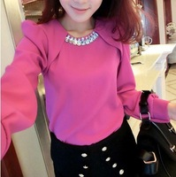 Xmj spring rhinestone decoration o-neck long-sleeve pullover faux two piece puff sleeve chiffon shirt