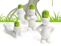 Free shipping Home Decoration Mini DIY White Man Magic Grass Planting Creative Lovely Gifts Plant Hair Man Office Decoration A17