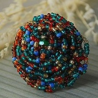 NO 1  National trend bohemia beads handmade knitted women's personalized big ring multicolour
