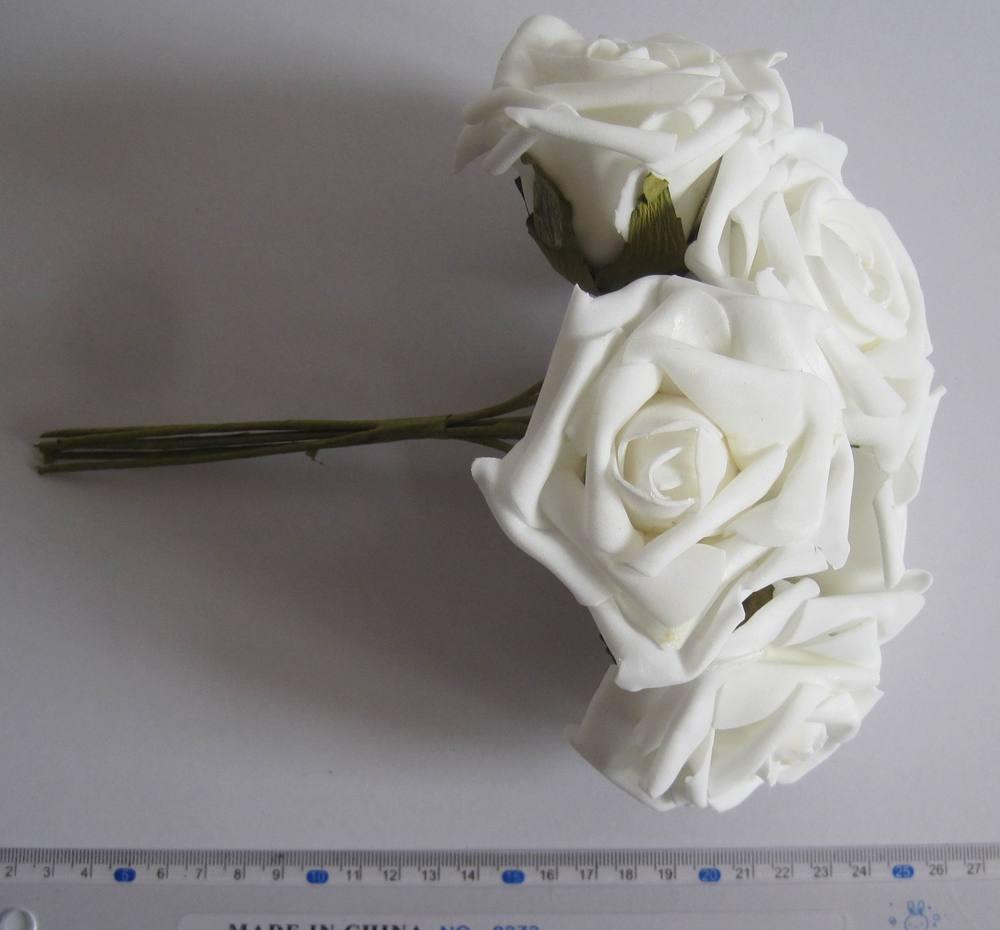 6,5 centímetros cor branca EVA Rosa Flor flor caule / casamento Bouquet / fio Frete grátis (72pcs/Lot) 004.1(China (Mainland))
