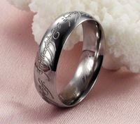 Size 6/7/8/9/10/11/12 The Lord of the Rings White Gold Plated Band Ring Wedding LOTR Ring Width 6mm