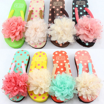 Sweet princess wind wedges big chiffon flower flip flops flip slippers sandals women's sandals 20