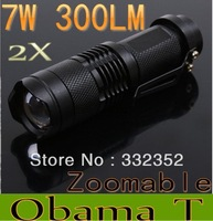 wholesale and Retail 2XMini LED Torch 7W 300LM CREE Q5 LED Flashlight Adjustable Focus Zoom flash Light Lamp free shipping