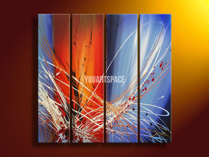 4 Piece Wall Art Modern Abstract Bright Fantasy Space Blue Oil Painting On Canvas Modern Coffee Shop Prints(China (Mainland))