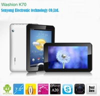 Free ship New Arrival 7'' Washion K70 Allwinner A20 dual core ARM Cortex A7 1.0Ghz Tablet PC Wifi HDMI Dual Camera