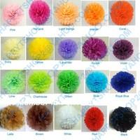 "50pcs 10""  25CM Tissue Paper Pom Poms Flower Balls Wedding Party Shower Decoration Mix colors uPick  Free shipping"