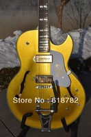 Hot sale 2012 new arrival Archtop guitar cheap price E S 330 Hollow Body Goldtop Electric Guitar with Bigsby Wholesale