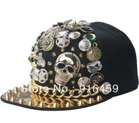Promotion Free shipping Button chain big skulls Black PUNK Hiphop baseball snapback Rivet Spike studded Dance Cap hats