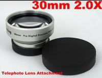 Newest 30mm 2.0X AF External Teleconverter Telephoto Lens Attached Pro Digital Precision Tele Lenses Converter Silver 1620