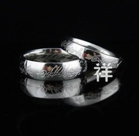 Wholesale Size 5/6/7/8/9 The Lord of the Rings White Gold Plated Band LOTR Ring Width 4mm