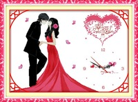 Print  marriage wedding series china style happy lover clock
