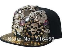 Promotion Free shipping Buttons skulls 2 style  Black PUNK Hiphop baseball snapback Rivet Spike studded Dance Cap hats