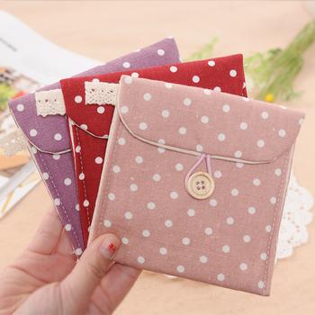 Fresh 3081 polka dot fluid sanitary napkin storage fabric sanitary napkin bag sanitary napkin bags