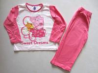 Free shipping ! children peppa pig sweet dreem girl long sleeved  top +pants suits Pajamas sleepwear pjs 10 sets /lot