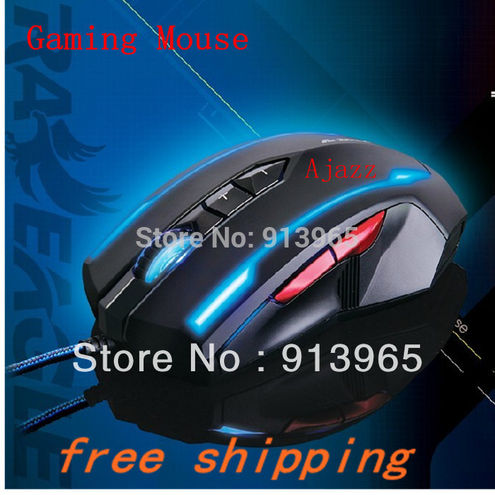 Gaming Mouse for Ajazz cable mouse USB wired computer mouse notebook CF mice with 7 keys and bule brighting light+by hk post(China (Mainland))