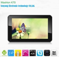 7'' Allwinner A20 dual core Tablet PC 1.0Ghz  Android 4.2 Gingerbread Washion K70 Capacitive multi touch Wifi HDMI Dual Camera