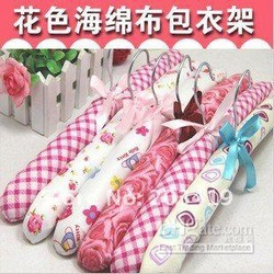 free shipping clothes rack sponge Satin Padded garment hanger fabric cute lovely colorful(China (Mainland))