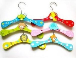 6PCS Cartoon Children Kids Nursery Room Wooden Coat Clothes Hooks Hangers Free shipping(China (Mainland))