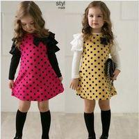 2014 New design Korean spring baby girls dress children cute dot full sleeve rose yellow color  wholesale dress