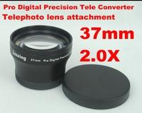 Newest 37mm 2.0X AF External Teleconverter Telephoto Lens Attached Pro Digital Precision Tele Lenses Converter Black 1626