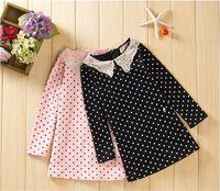 2013 new style hot sales free shipping Autumn Princess dress girls fashion Pretty dots high-sleeved dress