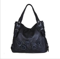 2013 woodpecker women's handbag genuine leather one shoulder hand bag vintage flower leather tote / free shipping