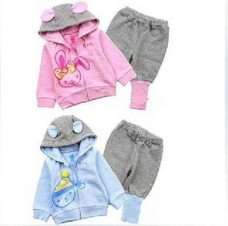 Free shipping! Wholesale The new cute bunny suit 2 pieces of pink, sky blue(China (Mainland))