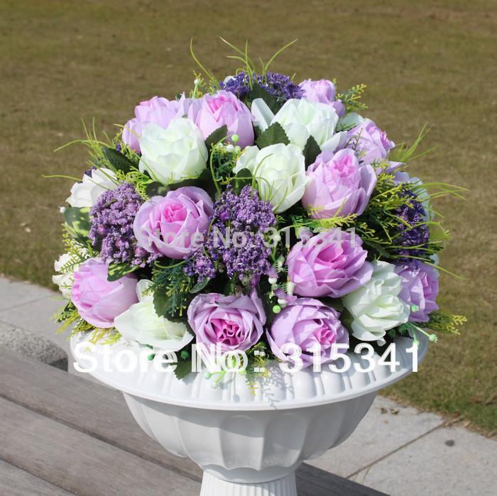 Decoration Silk Artificial Flower Arrangement In Decorative Flowers