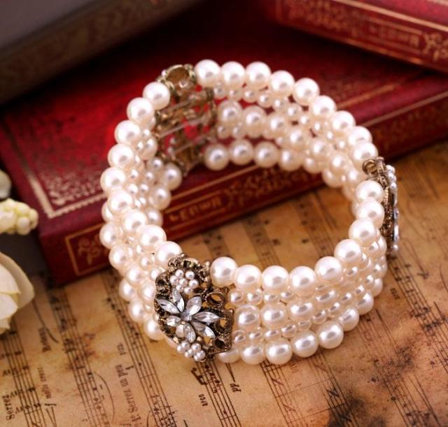 Min. order is 10 USD A fashion accessories girls bracelet pearl small flower multi-layer bracelet women's(China (Mainland))