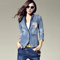Free shipping!!! 2013 spring and autumn new female slim slim nine point sleeve floral silk stitching denim jacket