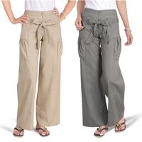 15 spring wide leg pants hemp cotton casual trousers loose lacing female trousers vs-8629