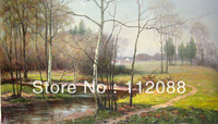 Free shipping! Hand-painted the picture on the wall, Landscape oil painting on canvas 20x40Inch for sale